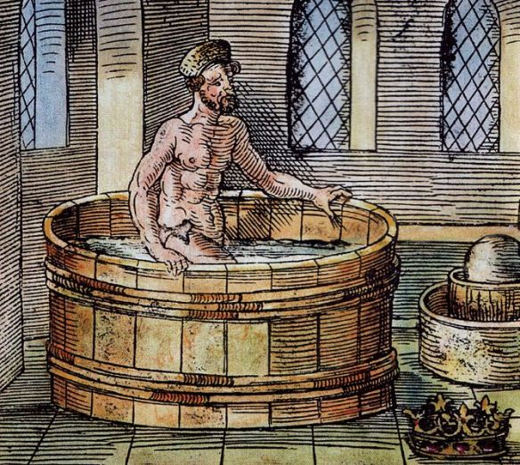 A 16th century carving of Archimedes in the bath, probably just before he exclaimed 'eureka'!